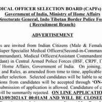 Medical Officer Selection Board Recruitment 2021